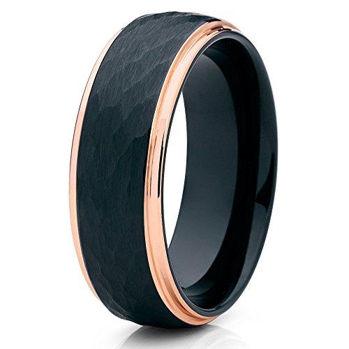 Alianza de boda de tungsteno negro de Silly Kings, anillo de tungsteno negro de 8 mm, tungsteno de oro rosa, anillo martillado