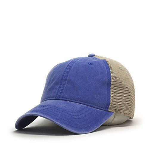 - Vintage Washed Cotton Soft Mesh Adjustable Baseball Cap (Royal/Royal/Khaki)