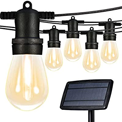 Banord Solar LED String Lights, 50FT 15 x 3W Warm White Vintage Edison Bulbs Patio Lights, Waterpoof Shockproof Party Outdoor Light String