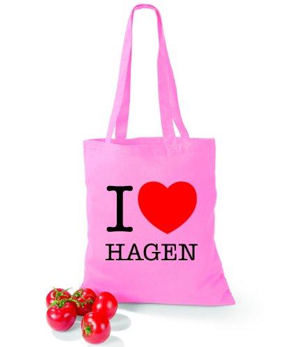Artdiktat Baumwolltasche I love Hagen Classic Pink