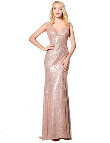 Belle House Women's Long Sequins Party Gowns V Neck Prom Dresses Rose Gold Chart House Column