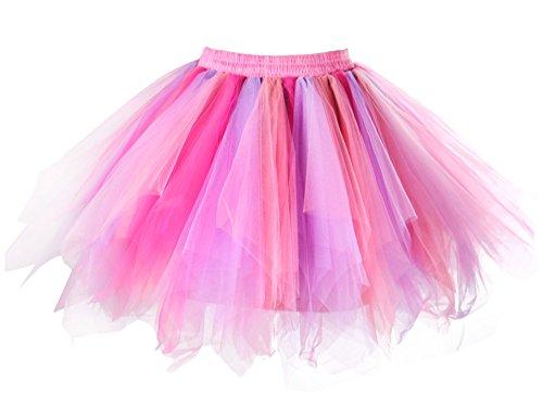 Unicorn Dance Costume (MsJune Women's 1950s Vintage Petticoats Crinolines Bubble Tutu Dance Half Slip Skirt (S/M, Fuschia-Lavender-coral))
