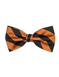 Jacob Alexander Stripe Woven Men's College Striped Pretied Bowtie - Orange Black