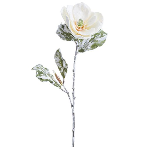 31'' Beaded & Snowed Magnolia Silk Flower Stem -White/Snow (pack of 12) by SilksAreForever