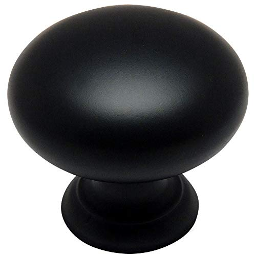 - 10 Pack - Cosmas 4950FB Flat Black Cabinet Hardware Round Mushroom Knob - 1-1/4