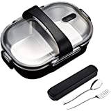 Bento Lunch Box With portable utensils 2 Compartments Stainless Steel Square Leak Proof Lunch Box with Portable Cutlery Compartment for Kids and Adults (Lunch box-Black)