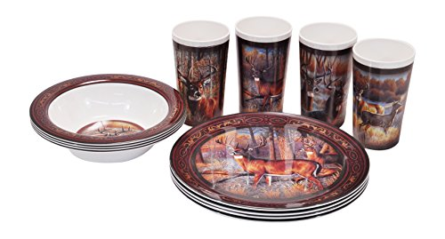 R&D Enterprises/Motorhead Products Deer 12 Piece Dinnerware Set,