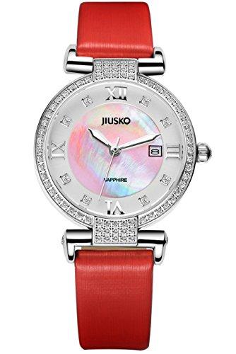 Jiusko Women's Analog Quartz Diamond Accent Red Leather Wrist Watch - Sapphire - Mother of Pearl - Date - 133SS0411 by JIUSKO