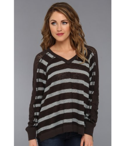 Free People Stripe Pointelle Dolman Sleeve Sweater Charcoal Combo X-Small