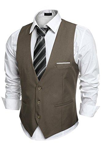 (COOFANDY Men's V-Neck Sleeveless Slim Fit Jacket Casual Suit Vests)