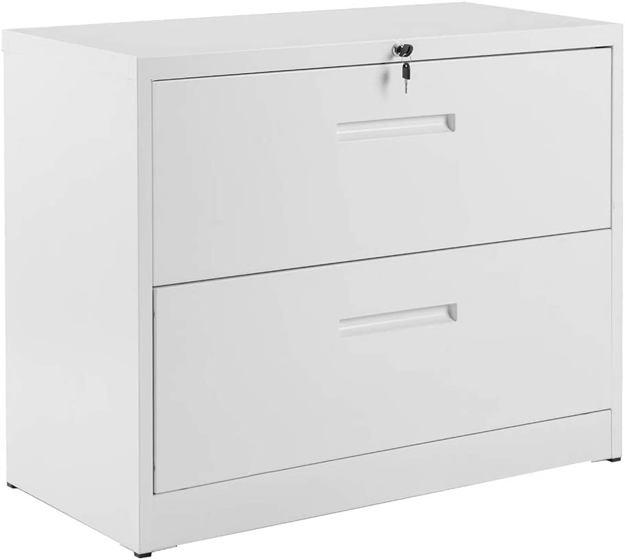 Lateral File Cabinet, Rockjame 2 Drawer Metal Lockable Filing Cabinet for Commercial Grade Office Legal and Letter File (White)