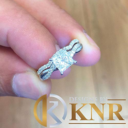 1.35 Carat Princess Cut Simulated Diamond Engagement Ring And Band Bridal Set Wedding 14k Solid White Gold Propose Promise -