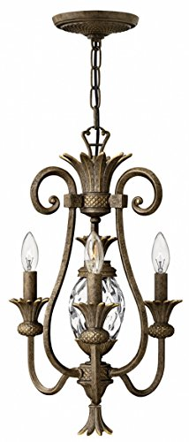 Light Pineapple Chandelier - Plantation Mini Chandelier With 3 Candle Lights In Pearl Bronze