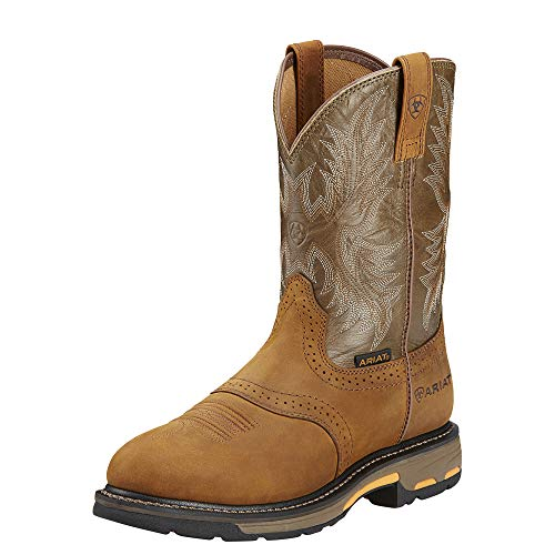 Leather Boots Ariat (Ariat Men's Workhog Pull-On Work Boot, Aged Bark/Army Green, 8 D US)