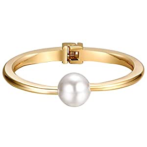 Shally Women's Gold Tone Hinged Cuff Bracelets w/ Single Pearl