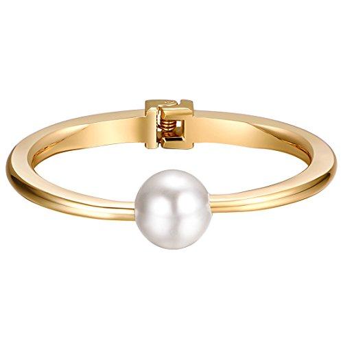 Shally Women's Gold Tone Hinged Cuff Bracelets w/ Single (Single Heart Bracelet)