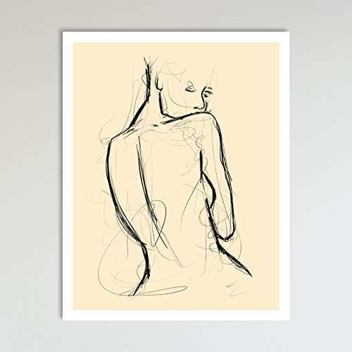 Seduction, Abstract Nude Woman Drawing, Contemporary Wall Art For Bedroom and Home Decor, Black and Cream Modern Boho Art Print Poster For Her and Him 11x14 Inches, Unframed