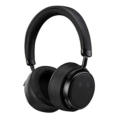 (Hifi Noise Cancelling Headphones, Siros H5D ANC Bluetooth Wireless Headsets Over Ear with Mic, Stereo Sound Deep Bass, Protein Earpads Lightweight for Travel Work Airplane TV PC Cellphone Music–)