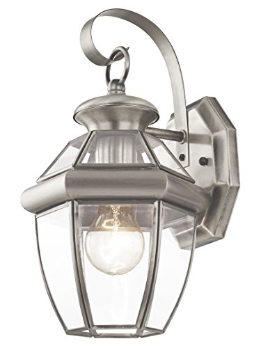 Elegant Bound Glass Lighting - Livex Lighting 2051-91 Monterey 1 Light Outdoor Brushed Nickel Finish Solid Brass Wall Lantern  with Clear Beveled Glass