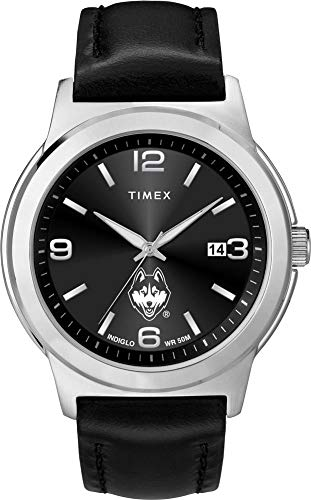 (Timex Men's UCONN Connecticut Huskies Watch Black Leather Band)