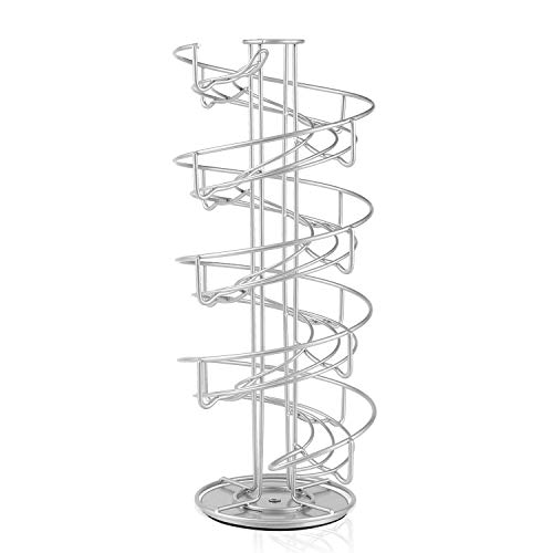 Deluxe Countertop - Flexzion Egg Skelter 360 Degree Rotatable Spiral Design Dispenser (Large) Chrome Plated Deluxe Modern Standing Storage Display Rack Organizer Holder for Countertop Kitchen, Silver