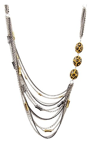 Wholesale Boutique Jewelry Costume (Women's Fashion Athena Silvertone Multi-strand Link Chain Necklace IJJWAT 19+3.5