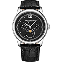 Stuhrling Original Mens MoonPhase Dress Watch - Stainless Steel Case and Black Leather Band - Black Analog Dial with Day of The Week and Date Celestia Mens Watches Collection
