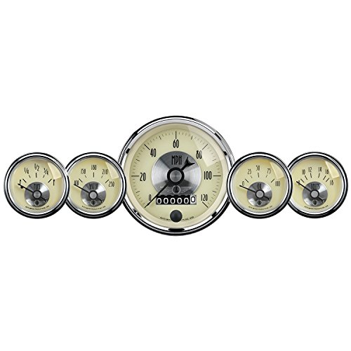 Auto Meter 2002 Antique Ivory Prestige Wheel Odometer Gauge - 5 Piece