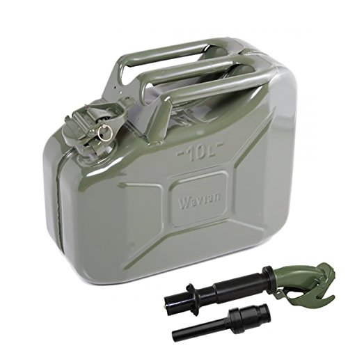 10 Liter (Olive Drab) Steel Wavian Jerry Can (Spout Included)