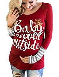 Christmas Baby It's Cold Outside Maternity T-Shirt Long...