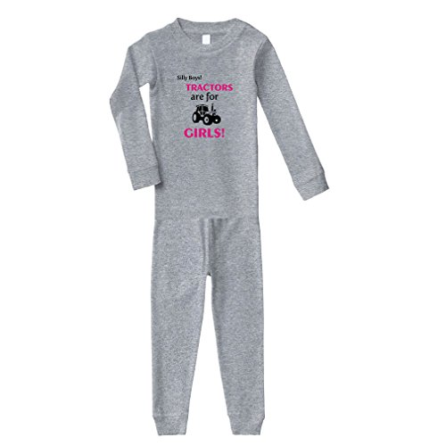 Silly Boys Tractors are for Girls! Cotton Long Sleeve Crewneck Unisex Infant Sleepwear Pajama 2 Pcs Set Top and Pant - Oxford Gray, 12 Months