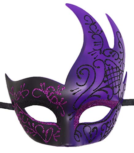 Mens Masquerade Mask Checkered Cracked Vintage Prom Halloween Mardi Gras Venetian Party Mask (A Purple)