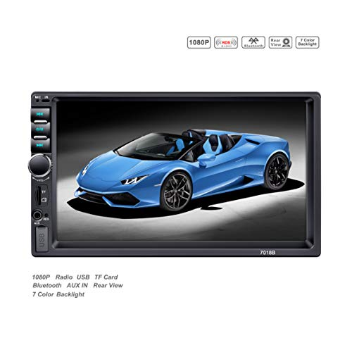 LSLYA 2 DIN Stereo, 7-inch Touch Screen car Radio MP5 MP3 Auto Video Player, Support for Bluetooth/FM / USB/SD / TF with Remote Control (Best Car Subwoofer For The Money)