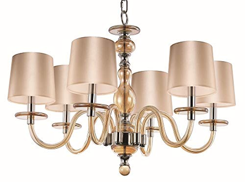 - Maxim 27546CGPN Venezia 6-Light Chandelier, Polished Nickel Finish, Cognac Glass, CA Incandescent Incandescent Bulb , 100W Max., Dry Safety Rating, Standard Dimmable, Fabric Shade Material, 1150 Rated Lumens