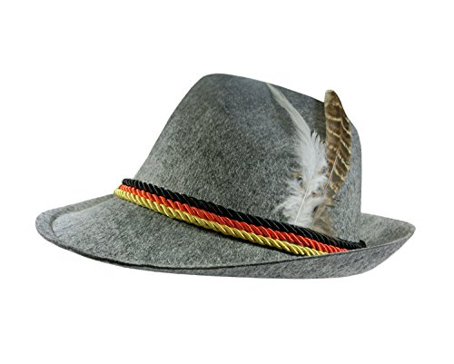 Nicky Bigs Novelties Adult German Alpine Bavarian Oktoberfest Hat With Feather Costume Accessory