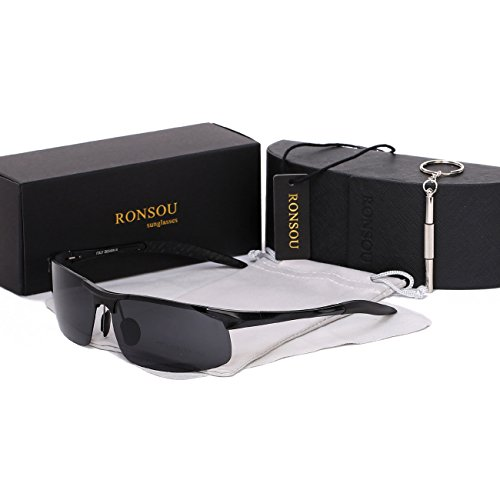 Ronsou Men Sport Al-Mg Polarized Sunglasses Unbreakable For Driving Cycling Fishing Golf...