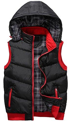 Quilted Jacket Black Padded Coat Color Hooded Mens Vest MK988 Vest Block Winter n7AZxq0f