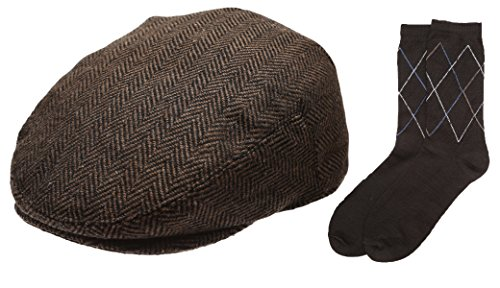 Men's Collection Wool Blend Herringbone Tweed Newsboy Ivy Hat with Dress Socks.(2037,XLARGE)