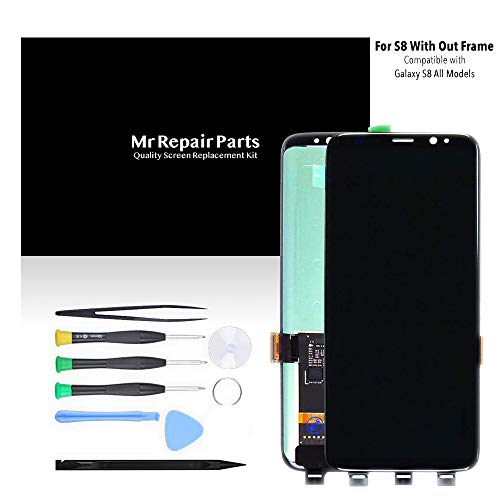 LCD Display Digitizer Touch Screen Assembly for Samsung Galaxy S8 Black G950A G950T G950V G950P SM9500 G950N G950F G950U by Mr Repair Parts - Lcd Screen Care