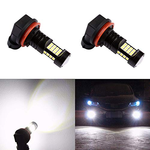 Morefulls 2400 Lumens Extremely Bright 36-SMD H11/H8 LED Fog Light Bulbs 6000k for DRL or Fog Lamp With Projector,360° Full Angle Light Output (Set of 2) ()