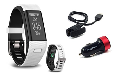 Garmin Approach X40 (White) Golf GPS & Fitness Band BUNDLE with PlayBetter USB Car Charge Adapter by PlayBetter