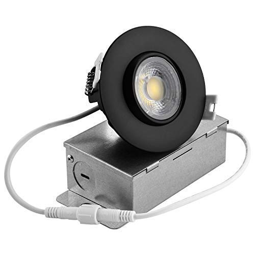 NICKLED 3 inch LED Gimbal Downlight,8W (65W Replacement), LED Eyeball Light with IC Rated Junction Box, 750LM,120V,Dimmable,Recessed Light Directional Adjustable (Warm White/3000K) ()