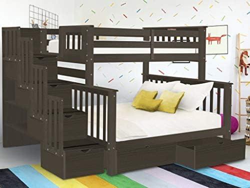 Bedz King BK961-Brushed-Gray-Drawers Bunk Bed