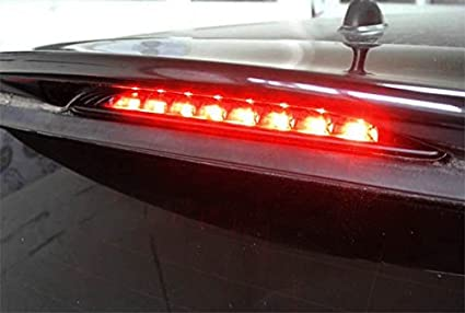 iJDMTOY Smoked Lens Red LED 3rd Brake Lamp For 02-06 MINI Cooper R50 R53 1st Gen OEM Fit High Mount Brake Light Powered by 8 Brilliant Red LED Lights