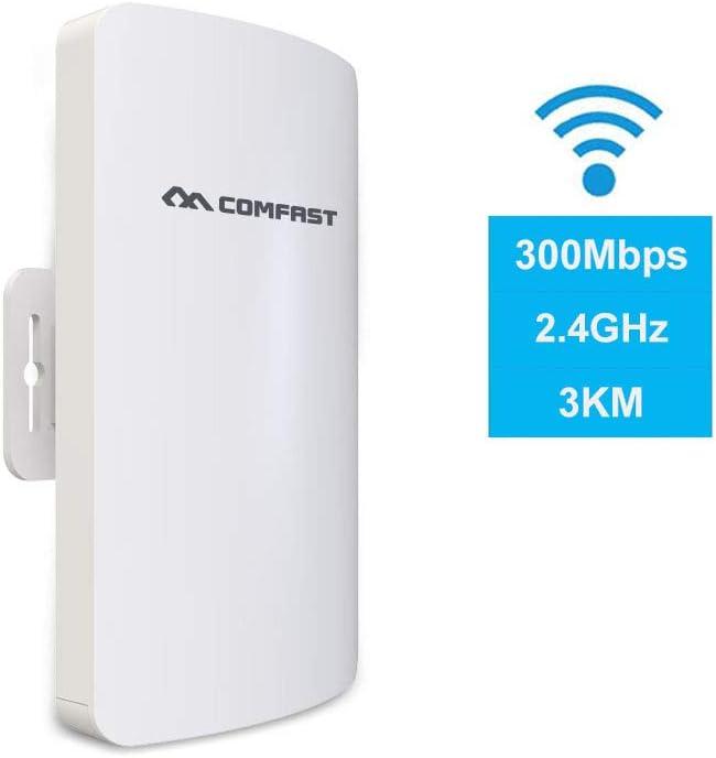 COMFAST E110N Punto de Acceso Inalámbrico 300Mbps CPE Exterior(2.4GHz, 11dBi, 3km, Adaptador PoE, Modo Puente/Enrutador/Repetidor/Ap)