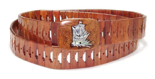 Wooden Belt with SHIP Picture Design Pattern Solid Wooden Buckle