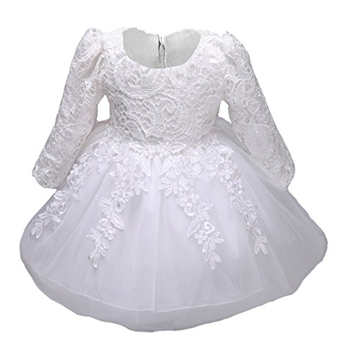 Myosotis510 Girls' Lace Princess Wedding Baptism Dress Long Sleeve Formal Party Wear for Toddler Baby Girl by Myosotis510