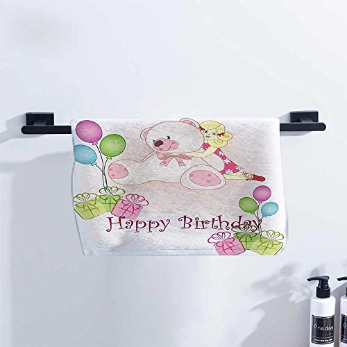 Doll Zelda Rag - Fakgod Kids Birthday Baby Towel Baby Girl Birthday with Teddy Bears Toys Balloons Surprise Boxes Dolls Image Pool Towels, Gym Towels & Hair Towels W10 x L10 Pale Pink