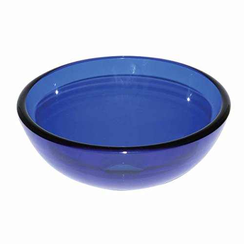 Blue Glass Vessel Sink With Drain, Mounting Ring, Tempered Glass Mini Bowl Sink | Renovator's Supply