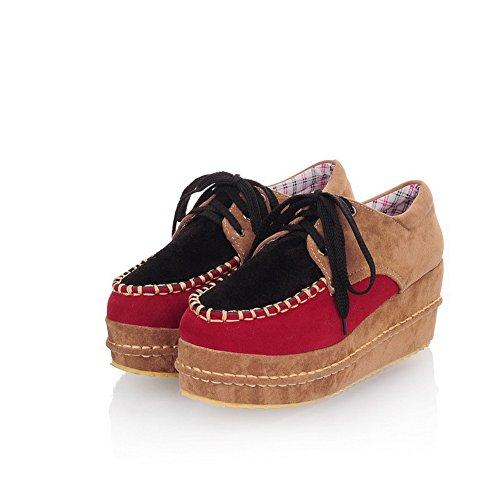 BalaMasa da donna lace-up Kitten tacchi scarpe col tacco chiuse, colori assortiti, Nero (Black), 38